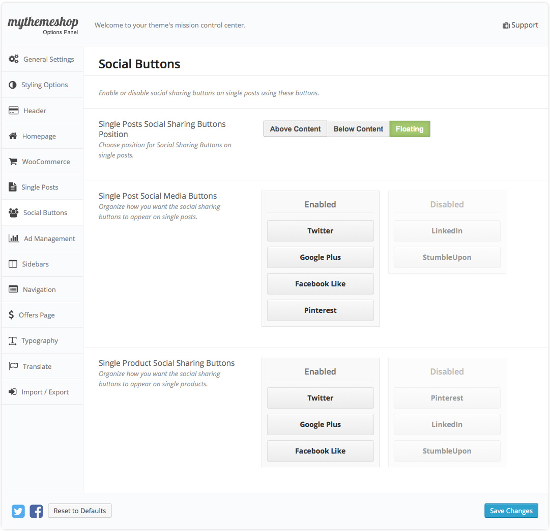 WooCart Social Settings